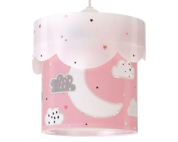 να παίξουν και να κοιμηθούν παρέα με τον αγαπημένο τους ήρωα. Το Moon Pink κρεμαστό φωτιστικό οροφής διπλού τοιχώματος συμπληρώνει τα υπόλοιπα παιδικά φωτιστικά της συλλογής και είναι εξαιρετικά εύκολο στην εγκατάστασή του.