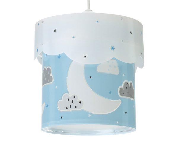 να παίξουν και να κοιμηθούν παρέα με τον αγαπημένο τους ήρωα. Το Moon Blue κρεμαστό φωτιστικό οροφής διπλού τοιχώματος συμπληρώνει τα υπόλοιπα παιδικά φωτιστικά της συλλογής και είναι εξαιρετικά εύκολο στην εγκατάστασή του.