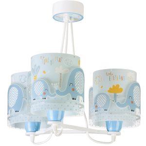 Ango 61337 T - Little Elephant Blue κρεμαστό τρίφωτο φωτιστικό οροφής