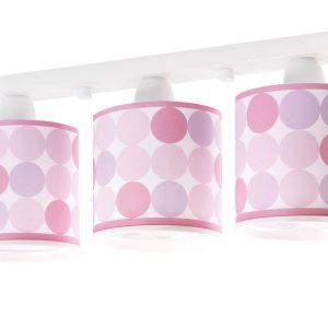 Ango 62003 S - Colors Pink τρίφωτο παιδικό φωτιστικό οροφής