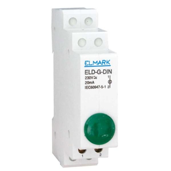 Ενδεικτική Λυχνία Ράγας LED Πράσινη Elmark ELD - R - DIN