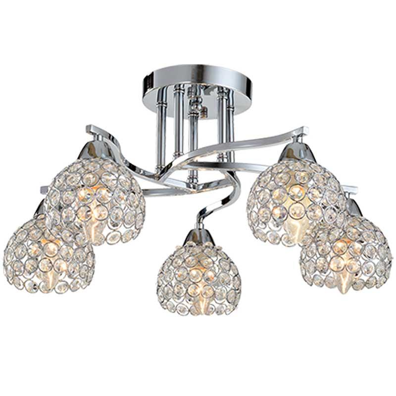 Φωτιστικό 5Φ Liza Μεταλλικό με Κρύσταλλα Χρώμιο 955LIZA5/CH
