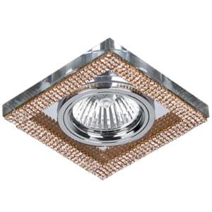 Σποτ Χωνευτό Σταθερό Γυαλί-Κρύσταλλο Χρώμιο/Χρυσό Τετράγωνο 50mm CR-776 Elmark 925776S/GD