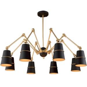 Φωτιστικό Spider Μεταλλικό 8Φωτο Vintage Μαύρο-Χρυσό 955Spider8/BK