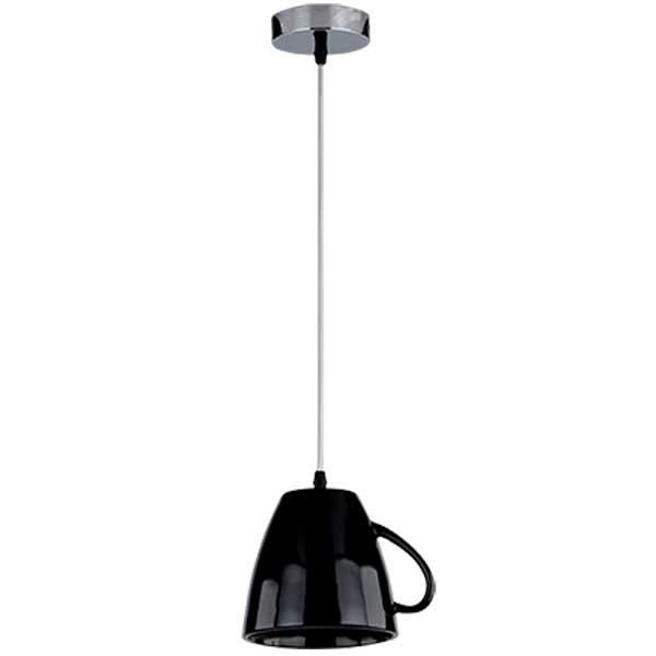 Μεταλλικό Κρεμαστό Φωτιστικό Σε Σχήμα Κούπας Με Λαβή Μαύρο 1XE27 ELMARK 955TEATIME1/BK