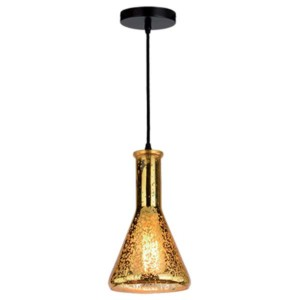 Φωτιστικό Κρεμαστό Με Γυαλί Χρυσό 1XE27 ELMARK 955ART1Β