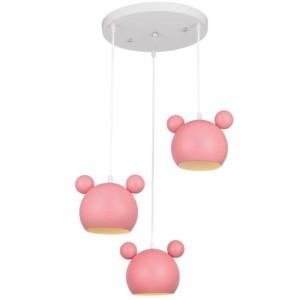 Φωτιστικό Παιδικό 3Φ Mickey Μεταλλικό Ροζ 955MICKEY3/P