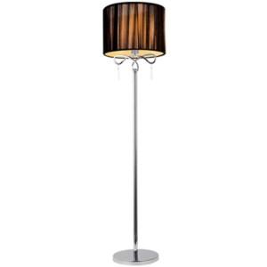 Φωτιστικό Δαπέδου Lilly Μεταλλικό με Υφασμάτινο Καπέλο και Κρύσταλλα LUX Χρώμιο-Καφέ 955Lilly1F