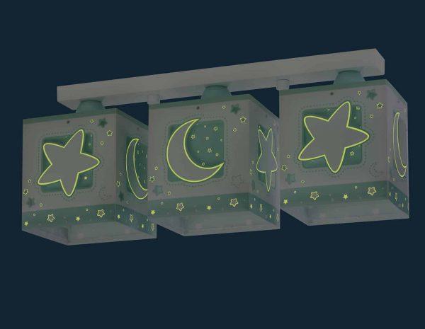 να παίξουν και να κοιμηθούν παρέα με τον αγαπημένο τους ήρωα. Η μαγεία συνεχίζετε ακόμα και στο σκοτάδι με τα φωσφορίζοντα μέρη του στο εξωτερικό τοίχωμα των φωτιστικών του σωμάτων. Το MoonLight Green τρίφωτο φωτιστικό οροφής σε ράγα συμπληρώνει τα υπόλοιπα παιδικά φωτιστικά της συλλογής.