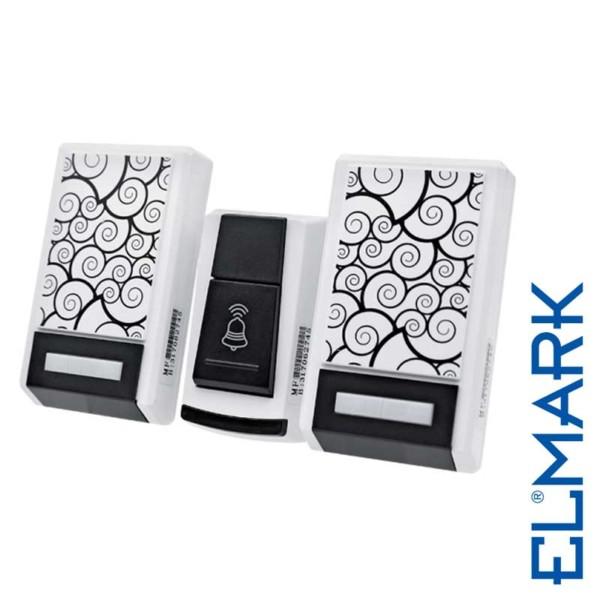 Ασύρματο Κουδούνι 5015 σε Πρίζα 230V Διπλό ELMARK με 36 Μελωδίες και Οπτικό Σήμα