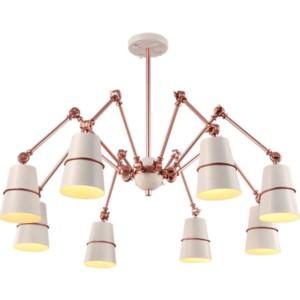 Φωτιστικό Spider Μεταλλικό 8Φωτο Vintage Λευκό-Χαλκός 955Spider8/WH