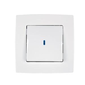 639190011L-481-Διακόπτης Απλός με Λυχνία 230V CITY Μεταλλικό Λευκό