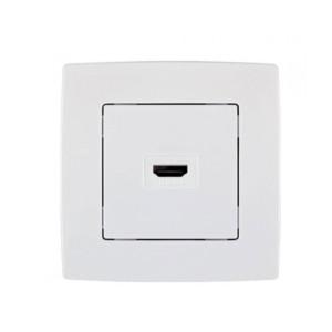 Πρίζα HDMI Μονή CITY Μεταλλικό Λευκό