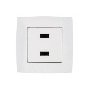Πρίζα USB Διπλή CITY Μεταλλικό Λευκό