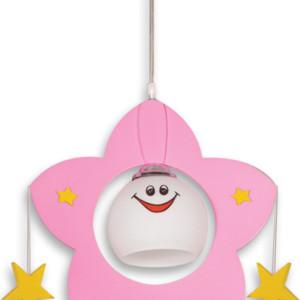 6810102-368-Παιδικό Φωτιστικό Αστέρι Ροζ Ξύλο και Γυαλί 1Φως CL-4336
