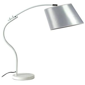 Φωτιστικό Γραφείου Πορτατίφ Μεταλλικό Λευκό με Καμπύλη Καπέλλο Λευκό CS 8028 WH Arlight