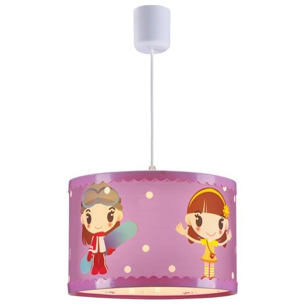 Παιδικό Φωτιστικό Κρεμαστό 1Φ Ροζ Κοριτσάκι Πλαστικός Κύλινδρος CL-4334 G ARlight