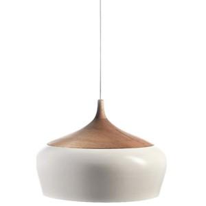 Κρεμαστό Μονόφωτο Φωτιστικό Μεταλλικό Λευκό +Ξύλινο InLight 4387