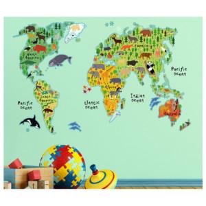 Διακοσμητικά Αυτοκόλλητα Τοίχου World Map XL ango 18301