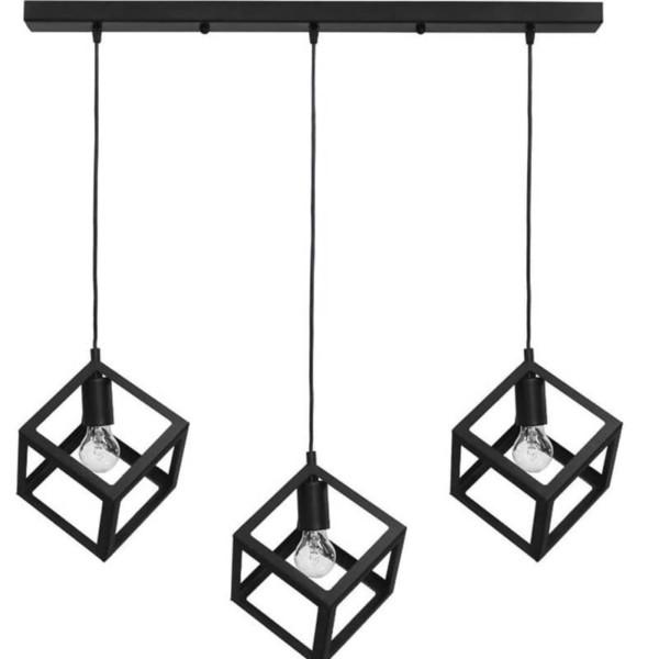 Φωτιστικό Οροφής 3φωτη Ράγα Μεταλλική Kyvos Black Heronia 34-0055