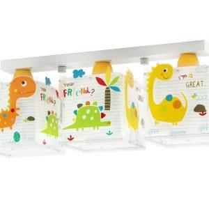 Ango 73453 - Dinos τρίφωτο παιδικό φωτιστικόοροφής που φωσφορίζει