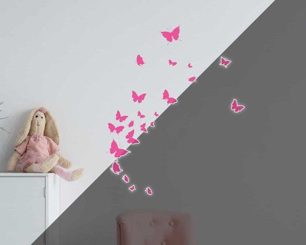Ango 77224 - Butterflies φωσφορίζοντα αυτοκόλλητα τοίχου Small μέγεθος