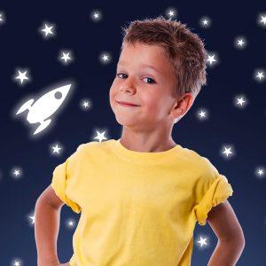 Ango 77226 - Rocket & Stars φωσφορίζοντα αυτοκόλλητα τοίχου Small μέγεθος