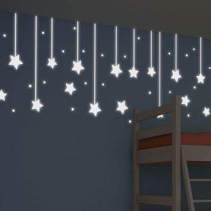 Ango 79227 - Hanging Stars φωσφορίζοντα αυτοκόλλητα τοίχου Medium μέγεθος