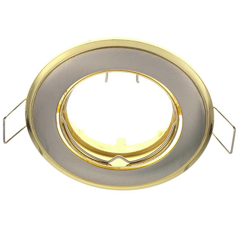 Δίχρωμο Κινητό Σποτ Απλό Σατέν Νίκελ - Χρυσό 50mm