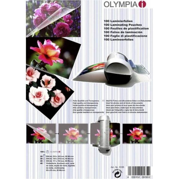 5514549-0201-Olympia 9165 Φύλλα πλαστικοποίησης για Α4 Α5 Α6 και επαγγελματικές κάρτες 100 τμχ