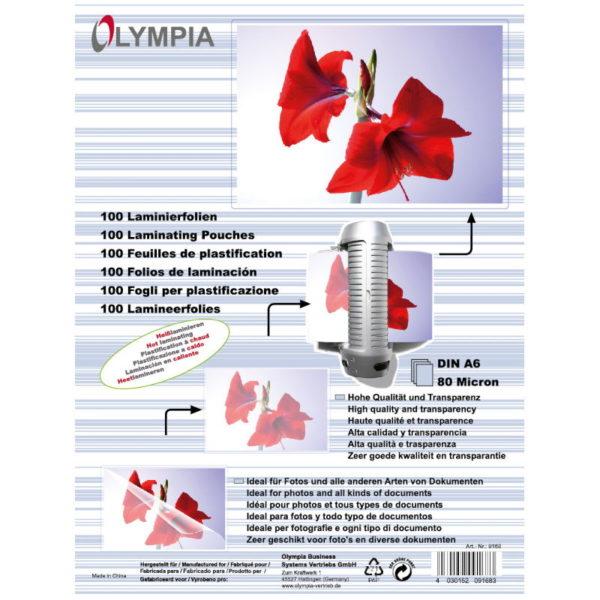 5514549-0009-Olympia 9168 Φύλλα πλαστικοποίησης για Α6 σε κουτί 80 microns 100 τμχ