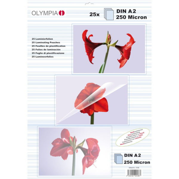 5514549-0037-Olympia 9174 Φύλλα πλαστικοποίησης για Α3 σε κουτί 80 microns 50 τμχ