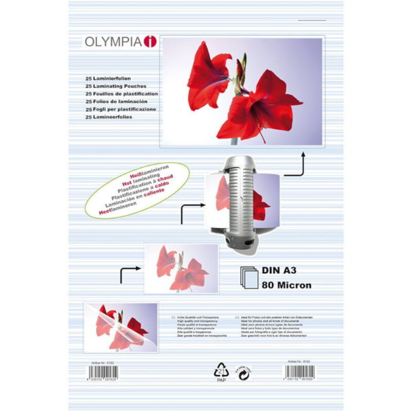 5514549-0036-Olympia 9182 Φύλλα πλαστικοποίησης για Α3 σε κουτί 80 microns 25 τμχ