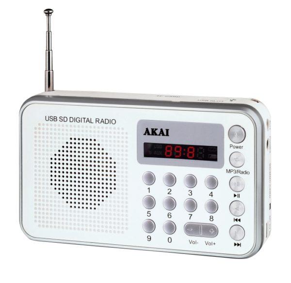 5514883-0521-Akai DR002A-521 Λευκό Φορητό ψηφιακό ραδιόφωνο με USB