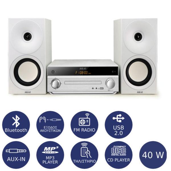 55110584-0003-Akai AM-301W Micro HiFi με Bluetooth