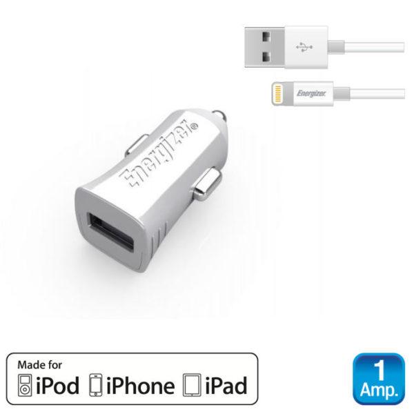 551107101-0056-Energizer DCA1ACLI3 Λευκός Φορτιστής αυτοκινήτου με καλώδιο Lightning για iPhone iPad iPod