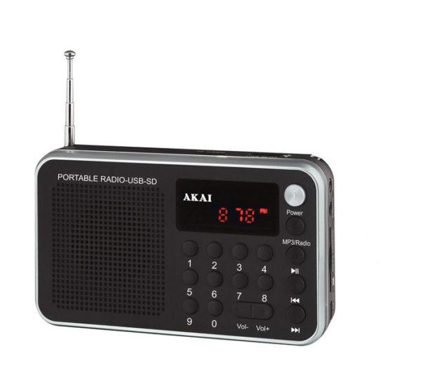 5514883-0522-Akai DR002A-521 Μαύρο Φορητό ψηφιακό ραδιόφωνο με USB
