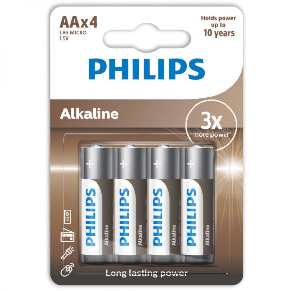 Philips LR6A4B/10 Αλκαλικές μπαταρίες υψηλής απόδοσης 4 τμχ AA
