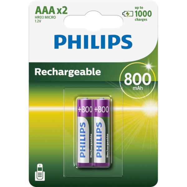 Philips R03B2Α80/GRS Επαναφορτιζόμενες μπαταρίες Ni-Mh 2 τμχ HR03 AAA 800 mAh 1.2 V