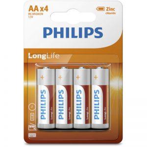 Philips R6L4B/10 Μπαταρίες μεγάλης διάρκειας ζωής Zinc-Chloride 4 τμχ AA
