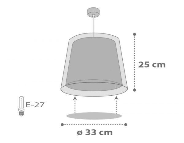 διάφανα συνθετικά και πλαστικά μέρη. Διπλού τοιχώματος με διάφανο το εξωτερικό του για μέγιστη φωτεινότητα. Κατασκευασμένο εξολοκλήρου στην Ευρώπη. Κιτ ανάρτησης ρυθμιζόμενο στο ύψος κατά την εγκατάσταση με διακοσμημένη ροζέτα κάλυψης σημείων σύνδεσης & στήριξης. Παρέχεται διαχυτής φωτός για ομοιόμορφο φωτισμό σε όλο το παιδικό δωμάτιο. Τύπος ντουί E27 και θέση για έναν λαμπτήρα. Διαστάσεις προϊόντος σε εκατοστά ∅33 – Υ: 25.
