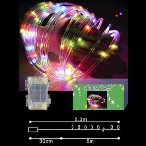 ΦΩΤΟΣΩΛΗΝΑΣ microLED ΠΟΛΥΧΡΩΜΟΣ 5m με μπαταρίες 30-2565