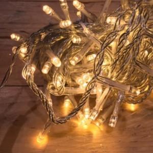 Σειρά Χριστουγέννων 100 LED Επεκτεινόμενα 7m Διάφανο Καλώδιο/Θερμό Χρώμα IP20 220-240V OEM 841201