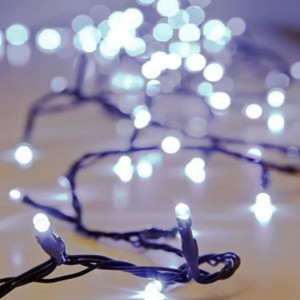 Σειρά Χριστουγέννων 100 LED Με Πρόγραμμα IP20 7μέτρα Πράσινο Καλώδιο/Ψυχρό Λευκό 220-240V OEM 840370