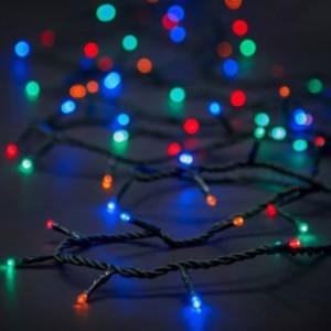 Σειρά Χριστουγέννων 100 LED Με Πρόγραμμα IP20 7μέτρα Πράσινο Καλώδιο/Πολύχρωμα Λαμπάκια 220-240V OEM 840371