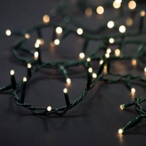 Σειρά Χριστουγέννων 100 Λαμπάκια 7μέτρα Ρυζάκι Με Πρόγραμμα M/F IP20 Πράσινο Καλώδιο/Θερμό Λευκό 220-240V OEM 840608