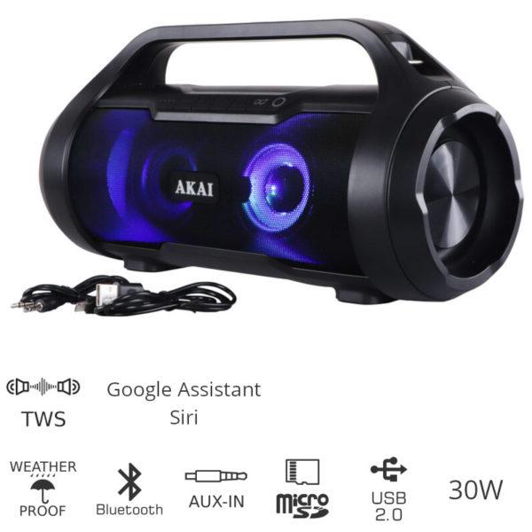 55110582-0080-Akai ABTS-50 Αδιάβροχο φορητό ηχείο Bluetooth με TWS