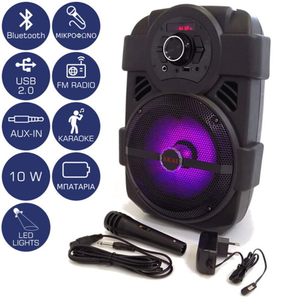 55110582-0008-Akai ABTS-808L Φορητό ηχείο Bluetooth με LED