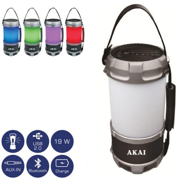 55110582-0006-Akai ABTS-S38 Φορητό ηχείο Bluetooth πολύχρωμο φανάρι LED και powerbank με Aux-In και USB – 19 W