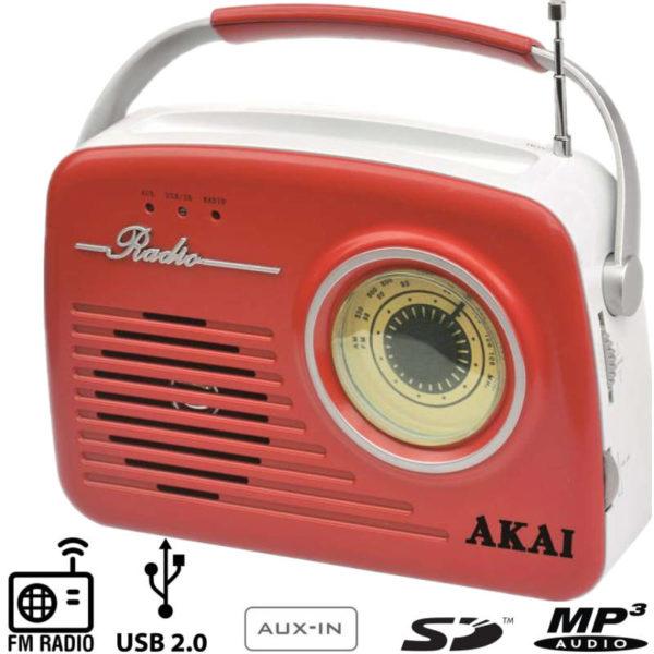 55110583-0004-Akai APR-11R Ρετρό φορητό ραδιόφωνο με USB